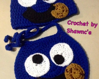 Crochet Cookie Monster Bib & Beanie