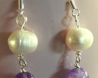 Elegant Freshwater Pearl and Amethyst Bead Drop Earrings