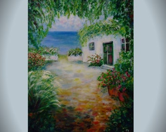 House painting Landscape painting Original acrylic art House wall decor White house seaboard Birthday gift Canvas painting  Large Fine decor