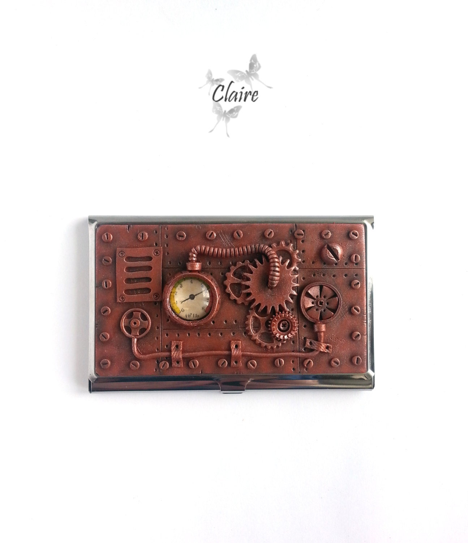 Steampunk business card holder business card by jewelryclaire for Steampunk business card holder