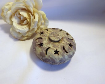 Star and Moon Trinket Box - Soapstone Trinket Box, Carved Trinket Box, Soapstone Incense Burner, Soapstone Box, Cone Incense Burner