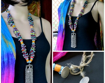 LONG KUCHI NECKLACE - Colorful Vintage Tribal Jewelry