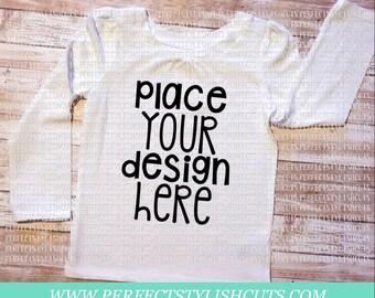 White Toddler Girl Shirt Long Sleeve - MOCK-UP Image, JPEG File, for Product Display, Blank T-Shirt Image