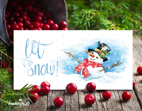 Christmas Printable Card 22cm x 11cm, Watercolor Handmade Painted, Let it snow, Digital Files, Instant Download