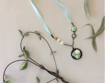 Mint green and white flower necklace