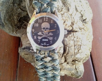 Paracord watch band with watch, watch band, watch.