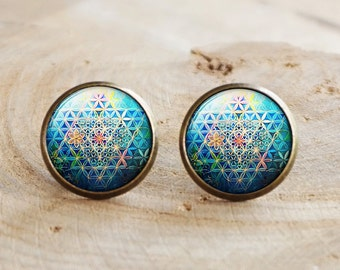 Flower of Life stud Earrings, Seed Of Life Earrings,Spiritual Earrings,Sacred Geometry Earrings, Mandala Earrings, Round Stud Earrings