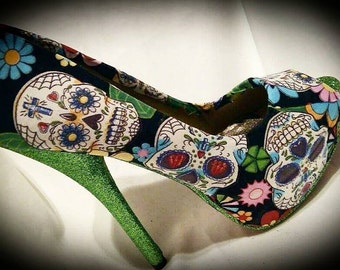 Green sugar skull shoes