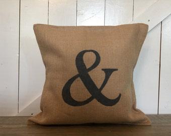 Ampersand pillow, Burlap pillow