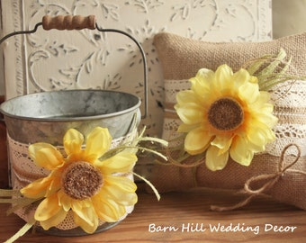 Flower Girl Basket, Ring Bearer Pillow, Rustic Wedding, Sunflower, Country Wedding, Ivory Lace
