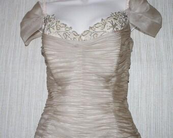 VINTAGE AZUL by LIANCARLO Beige 100% Silk Sleeveless  Ruffled  Gown Formal Dress Sz.:10