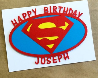 Superman Birthday Card - Papercut Hand Made Blank Card - Greetings Card - Can Be Personalised