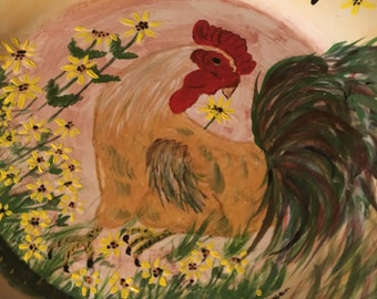 """USA handmade personalized  Rooster 18"""" platter"""