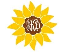 Sunflower Monogram - Sunflower Sticker - Yeti Decal - Custom Sticker - Custom Monogram - Sunflower Decor - Yeti Decal for Women - Yeti Decal