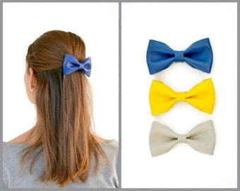 Blue leather hair bow / Leather bow clip / Hair accessories for children / Blue leather