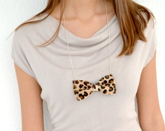 Leather bow tie necklace / Leopard print bow tie necklace / Leather statement necklace / Genuine leather / Leopard hairy leather