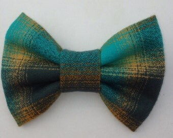 Plaid Hair Bow-Turquoise and Mustard Hairbow-Plaid Hairbow-Fabric Hairbow-Rockabilly