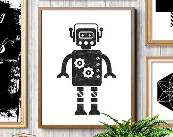 Robot print, cute robots black and white, robot art, boys room decor, kids room decor, boys room wall art, children's room, Sci-Fi, Any Size