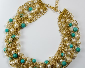 Statement Turquoise Necklace Summer Chain Necklace Pearl White