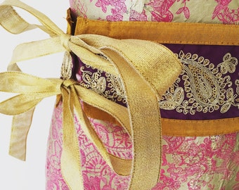 Gorgeous en stage purple gold fabric belt with sequins, sparkles and gold ribbons