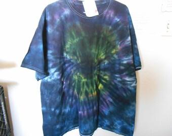 100% cotton Tie Dye T shirt Rainbow MM2X3  black size 2X