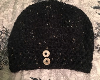 Crocheted Black Wool Slouchy Hat w/Buttons