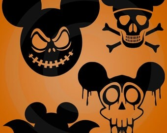 Halloween Mickey Mouse Cutting Files in Svg, Eps, and Png format for Silhouette and Cricut | Spooky | Zombie | Scary | Vector Graphics