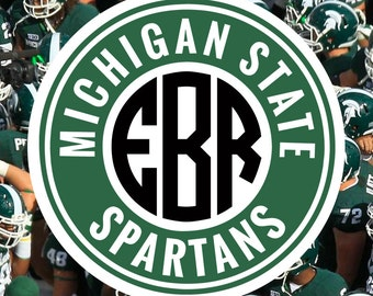 Michigan State Spartans Monogram Frame Cutting Files in Svg, Eps, Dxf, Png for Cricut & Silhouette | Michigan State | Go Spartans Graphics