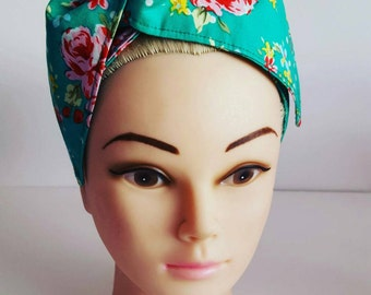 Green Flower Multi Pin Up Hair Tie