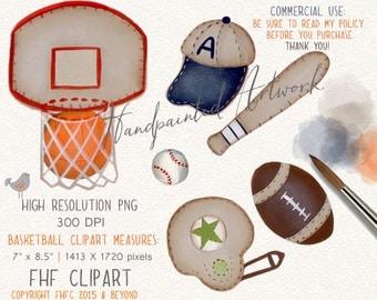 Sports Digital Clip Art | Basketball Baseball Football Digital Clipart | Personal & Commercial Use | Use in invitations | Wall Art Decor