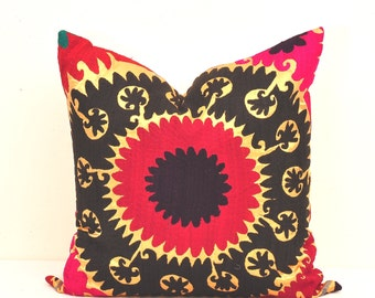 Pillow Cover- Suzani Pillow Cover-Suzani Cushion Cover-Suzani Cushion-Black Designer Suzani Pillow-Vintage uzbek suzani pillow cover