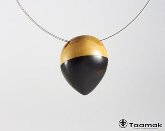If and ebony wooden necklace - necklace-woman-wood precious-made hand-Piece unique-jewelry Taamak)