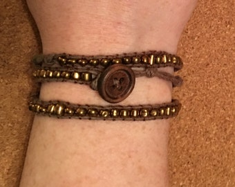 Brown and Gold Bead Wrap Bracelet Chan Luu Inspired