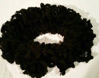 Black Ruffled Scarf