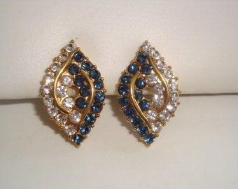 Vintage Sapphire and Rhinestone Pierced Earrings