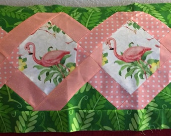 Pink Flamingos Table Runner made with a TWIST