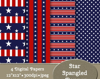 4 Digital Paper Backgrounds - Instant Download - Star Spangled Banner #13