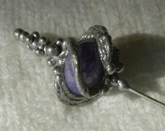 "Hat/Hair Pin 'Pipe Poke', ""Purple Pin Spire"" Sculpted Solder"