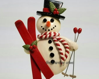 Polymer Clay, Snowman with Skis