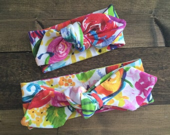 Mommy and me headband set - newborn/3m /6m /18m / 2T - watercolor floral