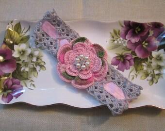 Cute Pink camouflage crochet headband
