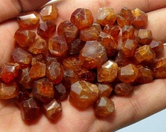 55 Pieces High Quality Orange Colour Hessunite Garnet Beads Un Drilled
