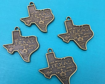 8 Texas State Charms, Texas Charm, Texas Pendant,Bronze Texas Charm,Texas Hanging Charm,Texas State Charm,Texas State Pendant,Texas Jewelry