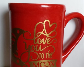 Love You to the Moon and Back Red Valentine's Mug
