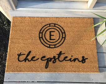"Monogram Doormats - Personalized - Laser-Engraved - 23"" x 35"" wide - 'Haehl' style"