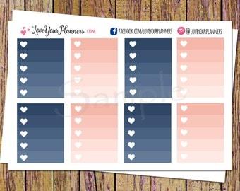 HARPER Peach Navy Ombre Checklist Planner Stickers Ombre Planner Stickers Functional Full Box Stickers Checklist Stickers Heart Planner O103