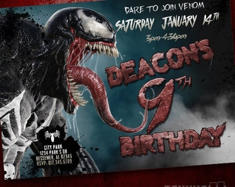 Venom Birthday Invitation - Venom Marvel Comics