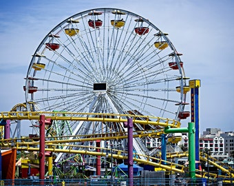Ferris Wheel Ride Roller Coaster Santa Monica Pier California Los Angeles Landscape Fine Art Photography Wall Art Print Nature Photograph