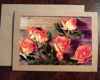 Peach Roses.  Photo Greeting/Note Card. Blank Inside.