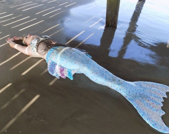Custom Fully Sequined Fully Siliconed Neoprene Mermaid Tail